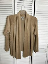 Chico's Women's Size 3 Brown Faux Suede Open Front Cardigan