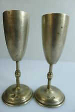 A LOVELY PAIR OF SMALL ANTIQUE / VINTAGE POLISH SOLID SILVER GOBLETS