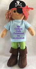 Personalised pirate Rag Doll Godson Grandson Nephew Son Christening gift