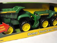 BOYS TOY FARM TRACTOR AND DUMPER TRUCK LORRY  JOHN DEERE AGE 18 MONTHS PLUS TOMY