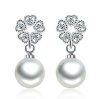 925 Sterling Silver Pearl Zirconia Flower Bead Butterfly Earrings Women Jewelry