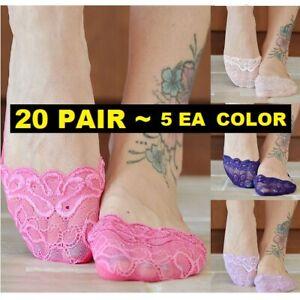 20 Pair Swirl Lace No Show Low Cut Womens Slipper Wedding Socks