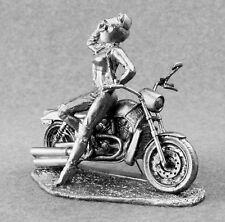 Motorcycle Metal Art Sculpture Hand Craft Toy Soldiers 54mm Woman Biker Figurine