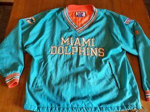 VTG Miami Dolphins Pro Line By Champion Pullover Windbreaker Jacket Mens L