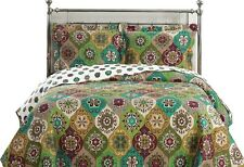 Bonnie Over-sized Wrinkle Free Coverlet Set, Reversible Floral King-Size Quilt