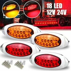 2X 18LED Heavy-duty Truck Turn signal Tail light Side indicator light Yellow/Red