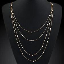 fashion Pearl Beads Long Strip necklace pendant Elegant women lady crystal charm