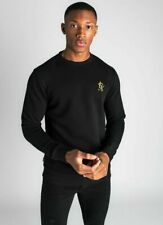 Gym King Mens Overhead Pullover Crew Neck Sweatshirt Sweater Jumper Black/Gold