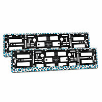 2x Universal Number Plate Holders Surrounds Frames Any Car - Blue Panther Effect