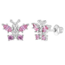 925 Sterling Silver Pink CZ Small Butterfly Screw Back Earrings for Kids Girls
