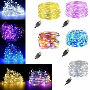 50/100 LED USB Micro Rice Wire Copper Fairy String Lights Christmas Party Decor
