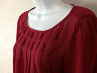 Ann Taylor LOFT Women's Size XS Solid Burgundy Scoop Neck See Through Blouse EUC