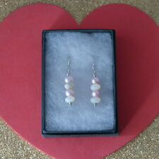 Nice Earrings With M.O.P. And Pearls Gems 3.6 Gr. 3 Cm. Long + 925 Silver Hooks