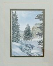 "Beautiful Winter River Jon Crane Signed, Matted  & Framed Print 11 1/2 X 13 3/4"""