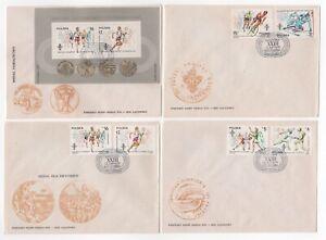 1984 POLAND 4 x First Day Covers OLYMPICS LOS ANGELES SARAJEVO SG2928/33 MS2934