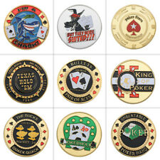 WR 9pcs Gold Poker Card Guard Coin Poker Chip Table Games Casino For Collection