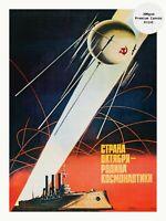 "Soviet Russian Space Propaganda Poster Print on CANVAS ☭ SPUTNIK, AURORA 18x24"""