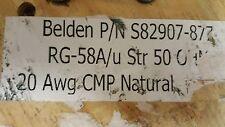 Belden 82907 RG-58A/U 20awg 50Ohm Ethernet Coaxial Teflon FPFA Plenum Cable/20ft