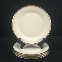 Set of 4 VTG Bread and Butter Plates Lenox Moonspun White Floral Platinum USA