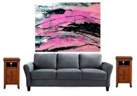 Original Abstract Painting on Canvas 16 x 20/Acrylic Paint Pouring/Pink Wall Art
