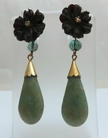 Antique Jade & Diamond 18ct Gold Earrings