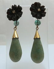 Antiguo Jade Y Diamante Pendientes De Oro 18 CT