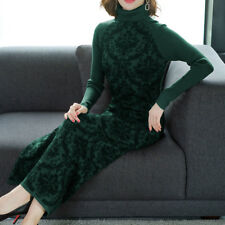 Women's New High Collar Knitting Sweater Slim Fit Floral Over The Knees Dress XJ