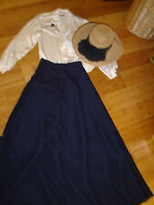 School Marm 2 pc dress ivory blouse black skirt straw hat M Prairie costume