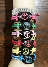 Leather Bracelet Muti-Color Unisex Peace Sign Symbol Adjustable