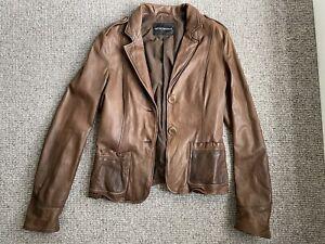 Vintage Emporio Armani Leather Blazer Jacket Small