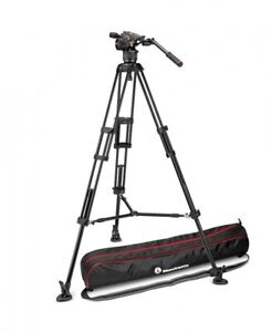 Manfrotto Nitrotech N8 video head w/ Twin leg tripod middle spreader and bag