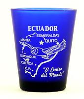 ECUADOR COBALT BLUE FROSTED SHOT GLASS SHOTGLASS