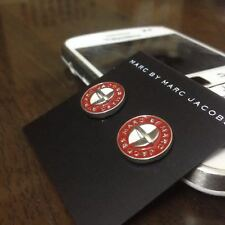 New Marc By Marc Jacobs Silver & Deep Red Logo Button Disc Stud Earrings