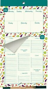 """MAGNETIC Weekly Meal Planner Shopping List Pad *52 PAGE* Fridge Magnet 6""""x11"""""""