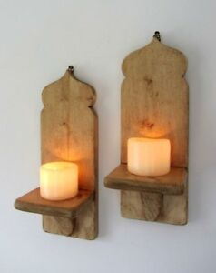 PAIR OF RUSTIC WOOD MOROCCAN STYLE WALL SCONCE'S LED CANDLE HOLDERS