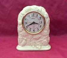 Vintage Ingraham Porcelain Ceramic Grapes & Leaves Embossed Mantle Quartz Clock