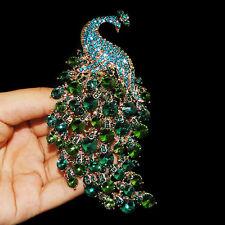 "Elegant 4.2"" Peacock Peafowl Animal Brooch Pin Austrian Crystal Green Blue"