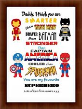 PERSONALISED Superhero Print - Word Art - Dad / Daddy / Uncle - Christmas Gift