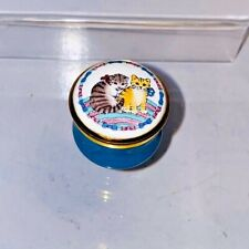 Halcyon Days Hinged Enamel Box Turquoise 2 Kittens Cats Vintage #117