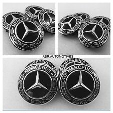 Mercedes-Benz Black Emblem Laurel Wreath Alloy Wheel Hub Centre Caps X4