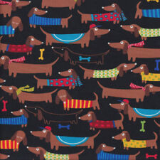 Brown Dachshunds with Knitted Coats on Black Quilting Fabric FQ or Metre *New*