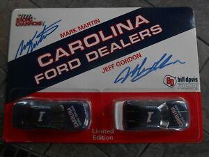 #1 Jeff Gordon/Mark Martin AUTOGRAPHED 1/64 Carolina Ford Dealers set.