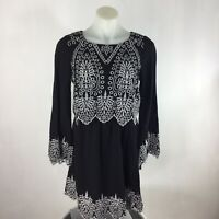 Skies are Blue Womens Size XS Dress Long Sleeve Embroidered Black White Eyelet