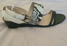 French Connection Wiley Black and White Open Toe Sandals Uk 7 Bnib Leather