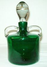Pretty Emerald Green Double Handle Decanter W/Heavy Glass Stopper