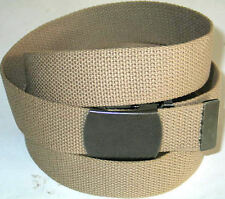 "Canvas BEIGE 45"" x 1 1/2"" Military Style WEB Fabric Belt GUN METAL Buckle"