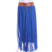 Ladies Chiffon Skirt Long Maxi Dress Colour Womens S Size M L XL 8 -18 With Belt