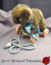 1986 Applause Wallace Berrie Plush Teddy Bear Pull Toy