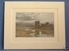 FLINT CASTLE AND SANDS OF DEE CHESTER RIVER VINTAGE DOUBLE MOUNTED HASLEHUST PIC