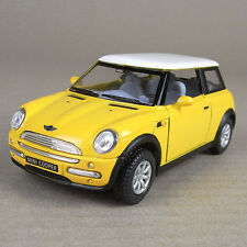 2001 Mini Cooper Die-Cast Collectible Model Car 1:28 Scale Yellow Opening Doors